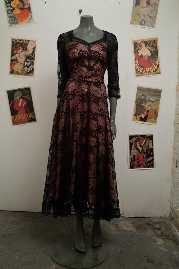 1930s Vintage French Lace Pink Slip Dress Large