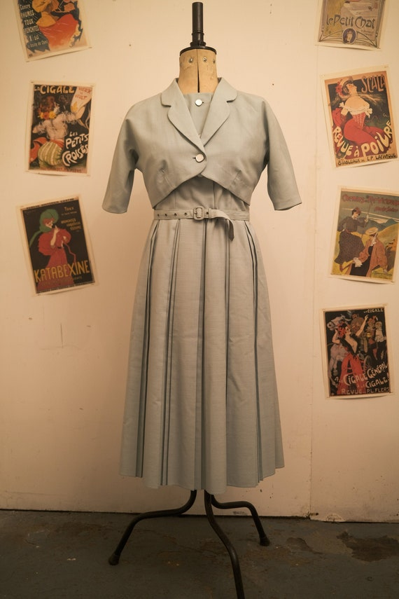 1950s Gerner Model Jade Dress Bolero and Belt