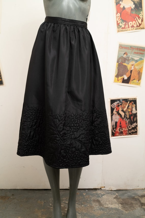 Vintage Quilted Black Skirt