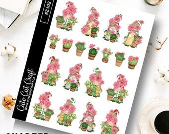 Gnome Planner Stickers || Cactus Gnomes