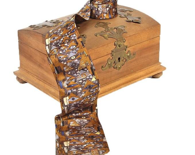 """Silk tie artist tie Gustav Klimt """"Adele neckline"""" 100% pure silk hand-printed"""