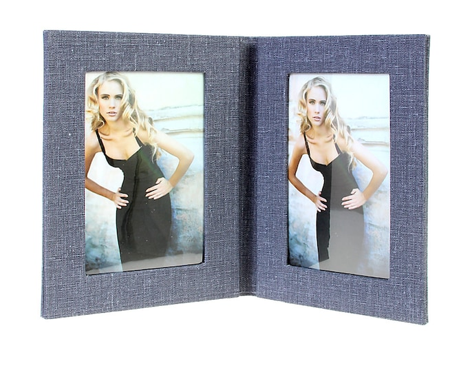 Picture frame folder Canvas for 2 images in approx. 10 x 15 cm linen cover. 15 x 30 cm (light blue)