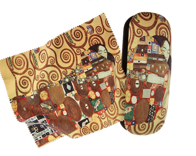 "Eyeglass case set Gustav Klimt ""fulfillment"" dark covered with velour (micro fiber)"