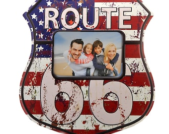 Nostalgia tin sign Route 66 with picture frame size approx. 30 x 34 cm