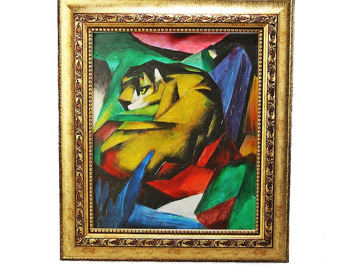 Canvas painting on real artist canvas Giclee print Franz Marc The Tiger with picture frame
