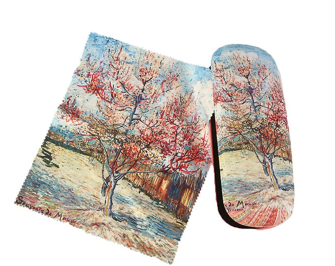 "Eyeglass case set Vincent Van Gogh ""peach tree"" covered with velour"