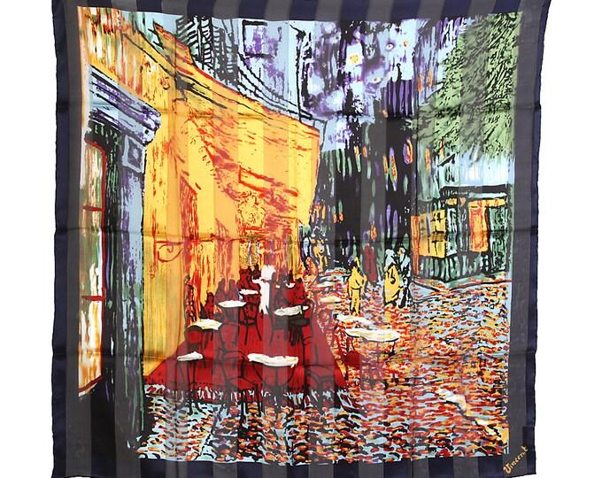 "Neckerchief Vincent Van Gogh ""Cafeterasse in the evening"" 100% silk size about 100 cm x 100 cm"