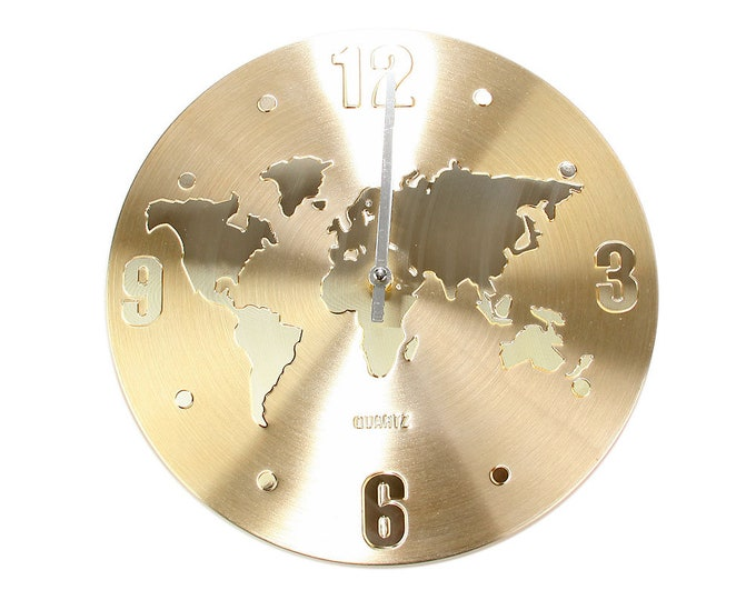 Wall clock world map gold size approx. 30 x 2.5 cm