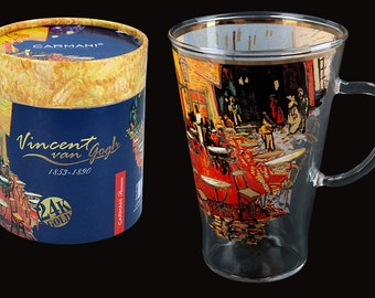 """CARMANI cup teacup glass Vincent Van Gogh """"Cafeterasse in the evening"""" incl. decorative gift box"""