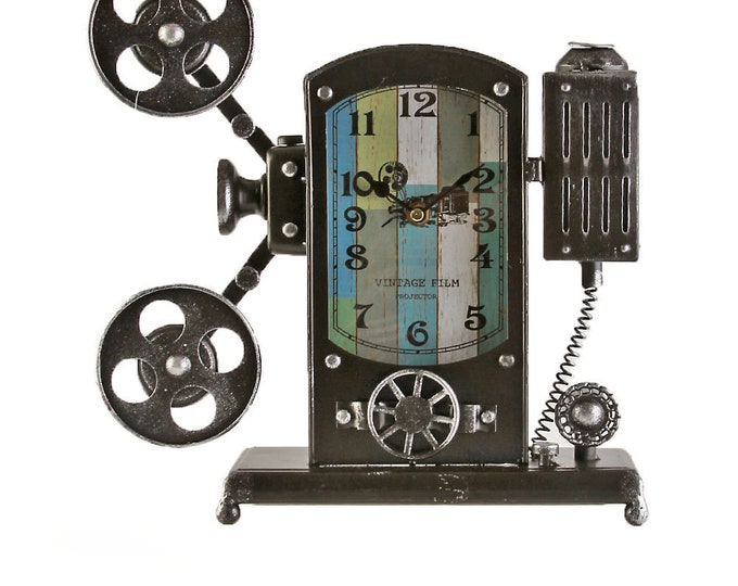 Table clock stand clock film camera black size approx. 30.5x9x31 cm