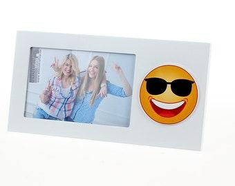 Picture frame photo frame emoji smiley sunglasses picture size approx. 10 x 15 cm frame size approx. 25 x 13 cm
