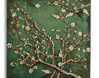 3D Metal Picture Relief Almond Blossom Handmade Size approx. 60 x 60 cm