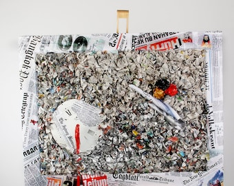 """Painting collage """"Morning newspaper"""" 72 x 93 cm"""