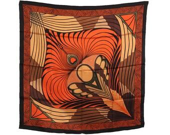 """Neckerchief Gustav Klimt """"The peacock Orange/Brown"""" 100% silk size about 100 cm x 100 cm"""