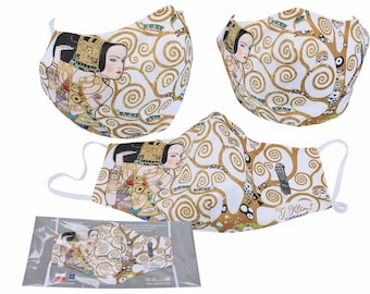 "Mouth-Nose Protection Mask 2-Layer Reusable Gustav Klimt ""The Expectation,Life Tree White"""