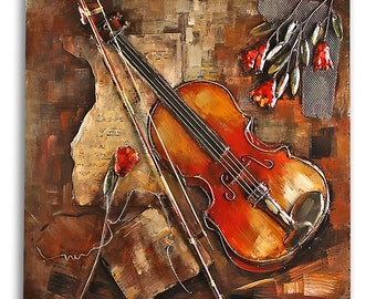 3D metal picture relief violin handmade size approx. 80 x 80 cm