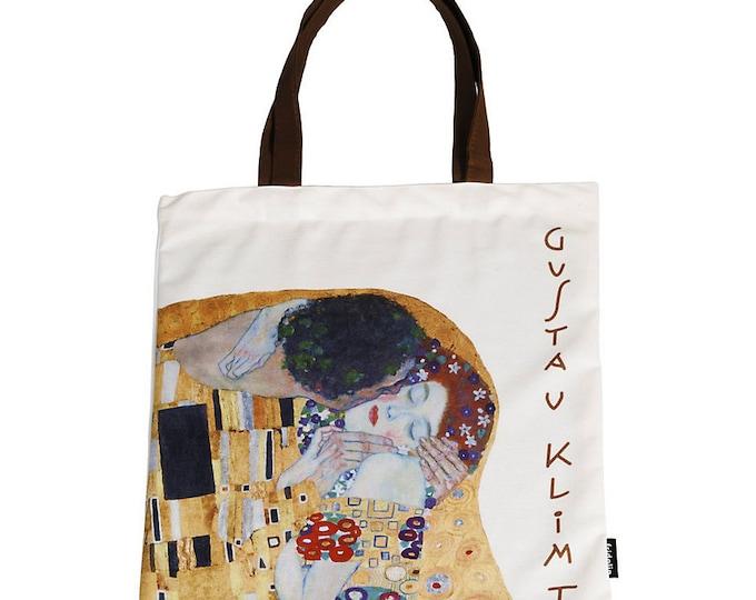 "Shopping bag Art Shopping Bag Gustav Klimt ""The Kiss"" size about 38 x 40 cm"
