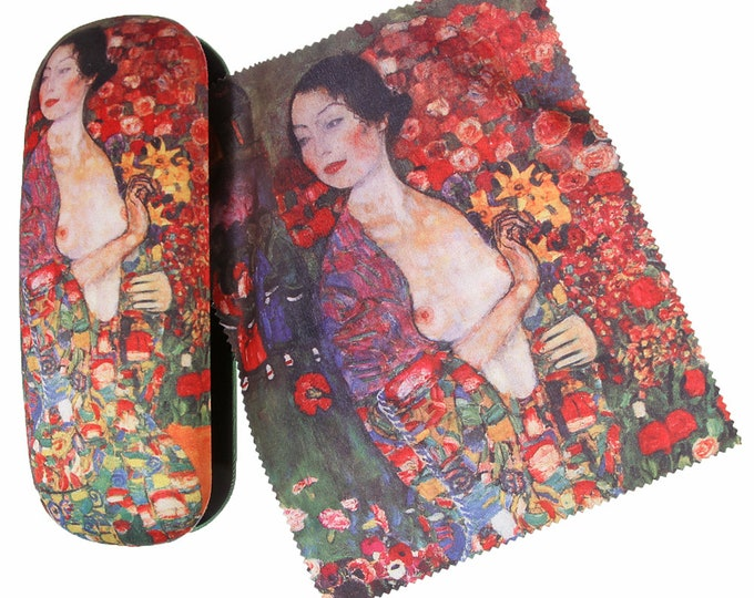 "Eyeglass case set Gustav Klimt ""The dancer"" covered with velour (micro fiber)"