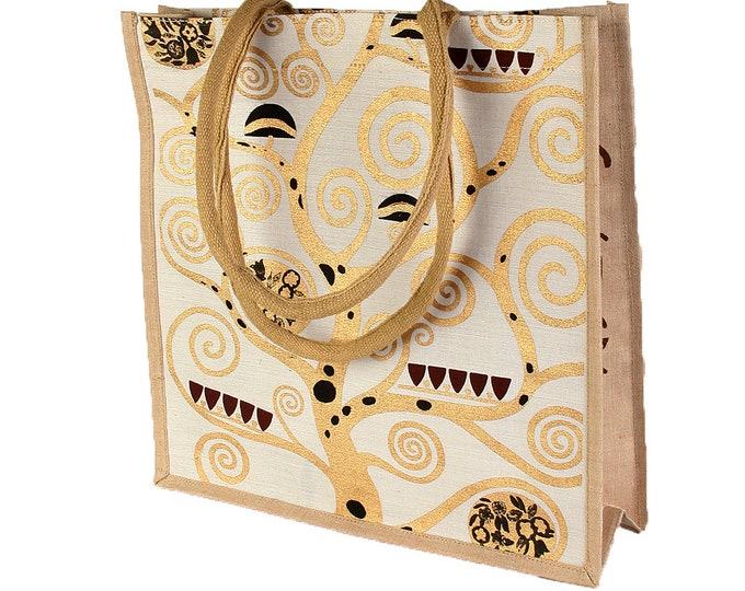 """Handbag shoulder bag shopping bag art bag jute bag Gustav Klimt """"life tree"""" white-tashed gold hand stitched & hand printed"""
