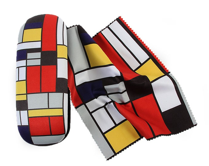 "Eyeglass case Piet Mondrian ""Modrian 2"" covered with velour (micro fiber)"