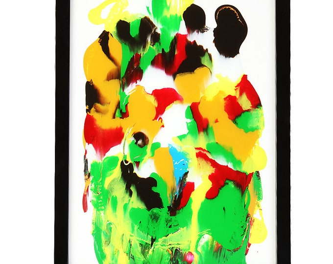 """Painting collage """"Color game"""" size approx. 33 x 43 cm"""