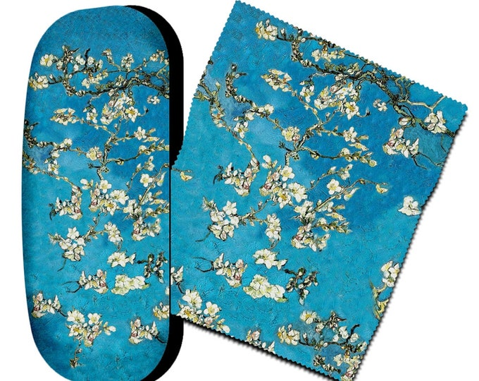 Eyeglass case set Vincent Van Gogh almond tree blue covered with microfiber velour