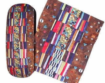 """Eyeglass case Gustav Klimt """"Stoclet 2"""" covered with velour (micro fiber)"""
