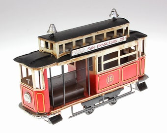 Tram Way San Francisco Tin model handmade LBH 33x10x19 cm