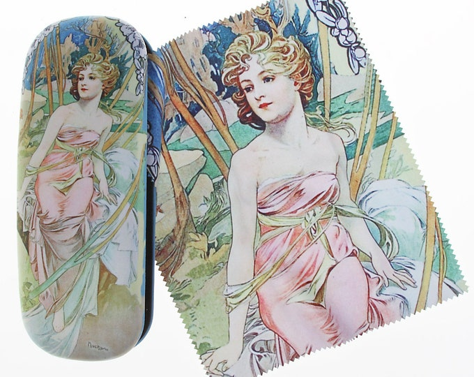 "Eyeglass case Set Alphonse Mucha ""The Morning - Le Matin"" covered with velour (micro fiber)"