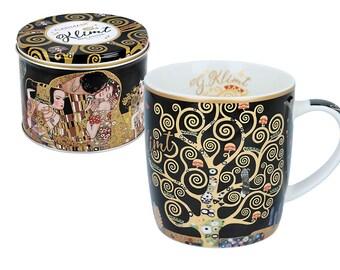 "CARMANI mug cup porcelain Gustav Klimt ""tree of life"" incl. decorative gift box"