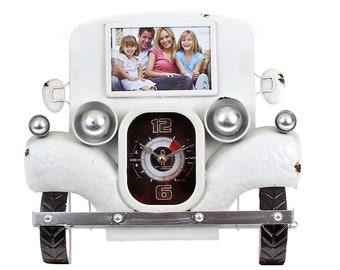 Photo wall clock vintage white sheet size approx. 39 cm x 35.5 cm x 6 cm photo size approx. 10 x 15 cm