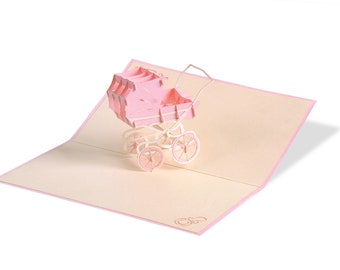 3D Pop Up folding card with envelope stroller girl also to use as a coupon or for a money gift