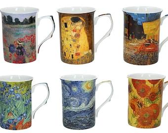 "Mug Cup Porcelain Gustav Klimt,Vincent Van Gogh,Claude Monet ""Art Collection"""