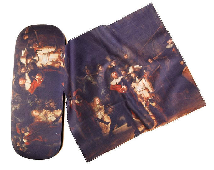 "Glasses case Set Rembrandt ""Night Watch"" covered with velour (micro fiber)"