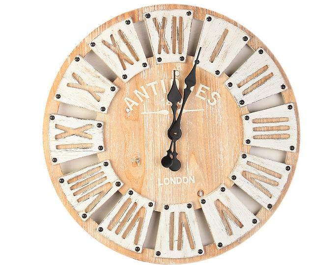Wall clock London wood size approx. 60 x 4.5 cm