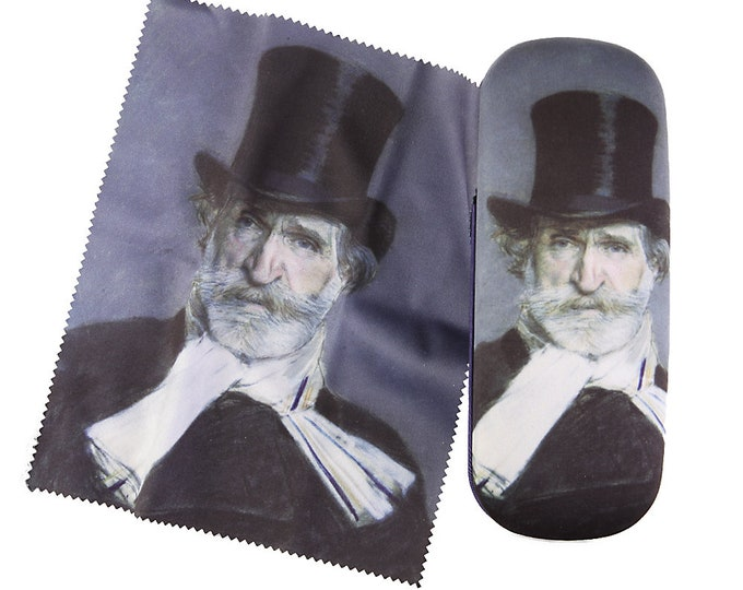 "Eyeglass case set ""Giuseppe Verdi"" covered with velour"