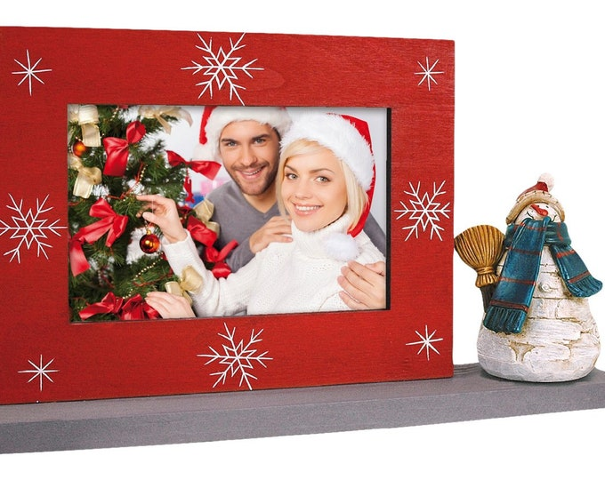 Table frame snowman for 1photo 10 x 15 cm landscape format, for setting