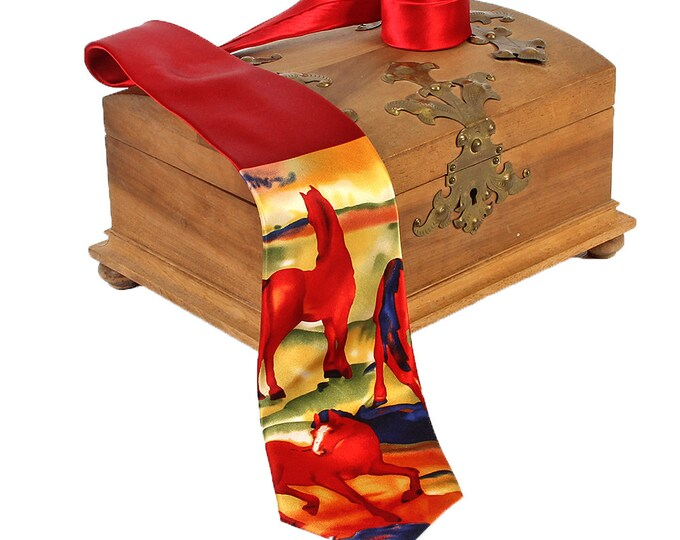 "Silk tie artist tie Franz Marc ""The Red Horses"" 100% pure silk hand-printed"