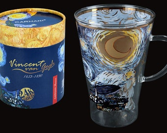 """CARMANI cup teacup glass Vincent Van Gogh """"Starry Night"""" incl. decorative gift box"""