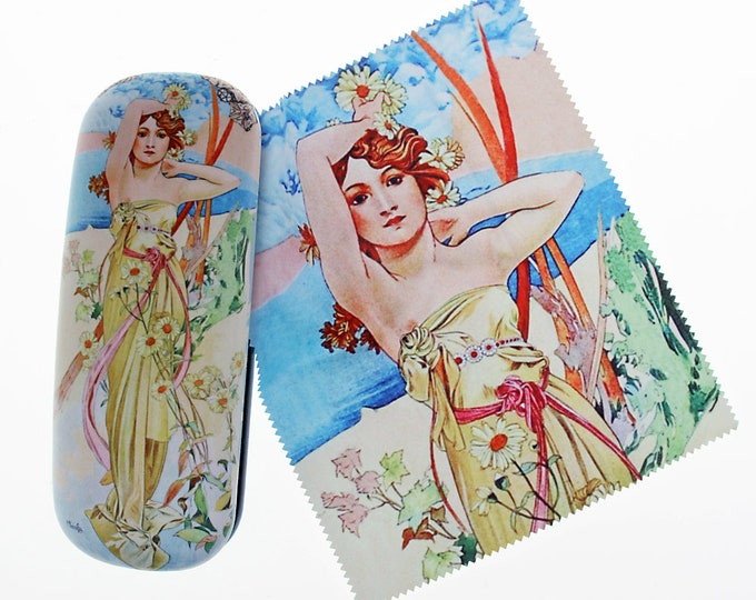 "Eyeglass case Set Alphonse Mucha ""The Day - Le Jour"" covered with velour (micro fiber)"