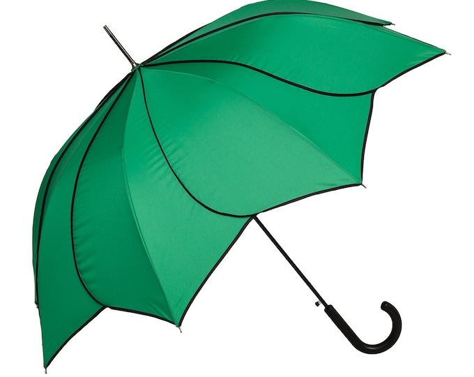 FROM LILIENFELD Automatic umbrella Minou, green with black decorative seams