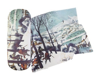 """Spectacle case Brueghel """"Homecoming of the Hunters"""" covered with velour (micro fiber)"""