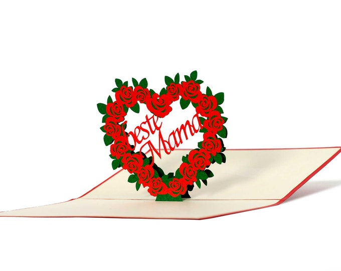 3D Pop Up Folding Card with Envelope Best Mom Also to Use as a Coupon or for a Money Gift