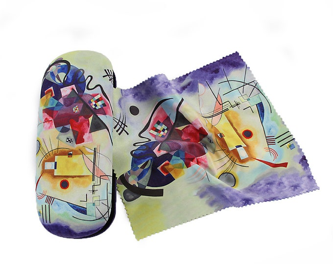 "Eyeglass case set Wassily Kandinsky ""Jaune Rouge Bleu"" covered with velour (micro fiber)"