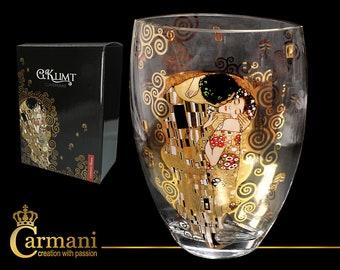"CARMANI Glass Vase Gustav Klimt ""The Kiss"" Candlestick with elegant gift box"
