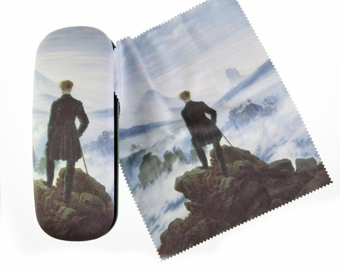 "Eyeglass case Set Caspar David Friedrich ""The Wanderer"" covered with velour (micro fiber)"