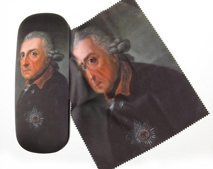 "Eyeglass case set ""Friedrich der Große II"" painter Anton Graf, covered with velour (micro fiber)"