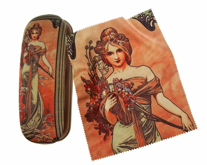 "Eyeglass case Set Alphonse Mucha""Spring"" covered with velour (micro fiber)"