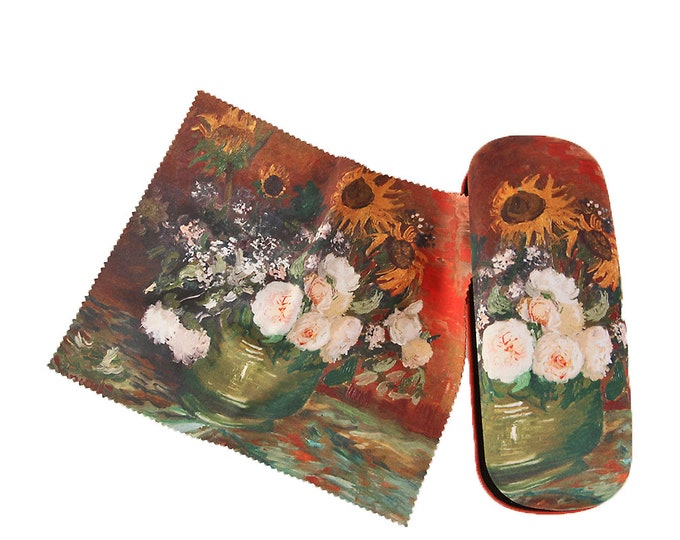 "Eyeglass case set Vincent Van Gogh ""roses and sunflowers"" covered with velour"