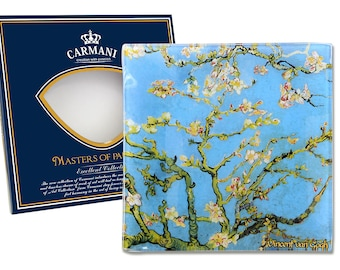 "CARMANI elegant bowl glass Vincent Van Gogh ""almond tree"" incl. decorative gift box"